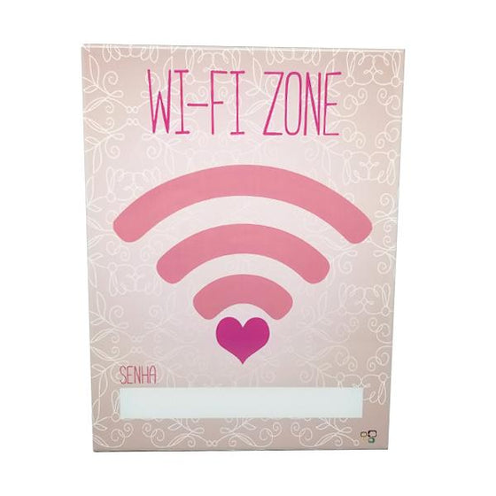 "Decor - ""Wi-Fi Zone"" Blush Pink Vintage Collectible Metal Wall Decor Sign"