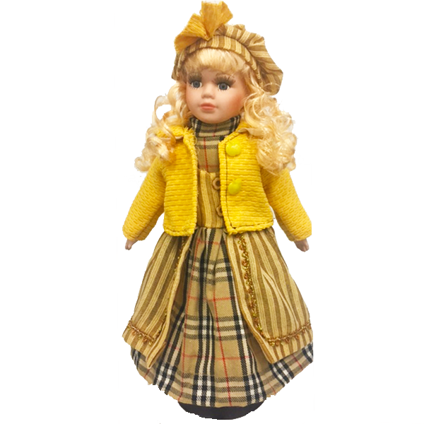 """Blond In Yellow Sweater"" Bisque Porcelain Doll"