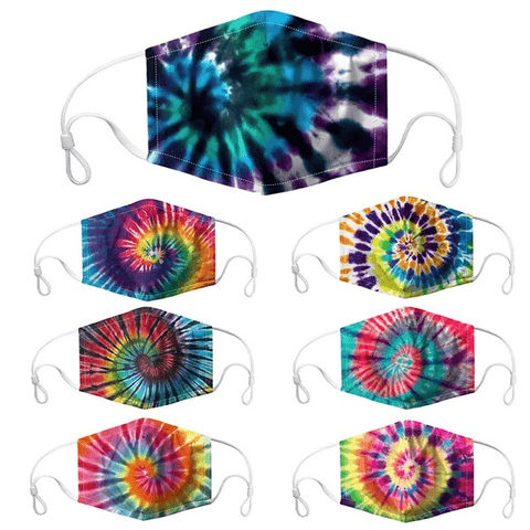3 Piece: Washable Tie-Dyed Cotton Fashion Masks with Filter Pockets