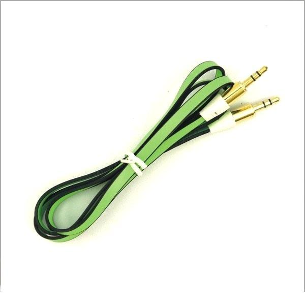 Electronics - 3 Foot 3.5mm Stereo Audio Auxiliary Flat Noodle Cable - Assorted Colors