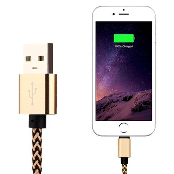 Electronics - Nylon Braided Tangle-Free Lightning IPhone Cable With Aluminum Alloy Heads - Assorted Colors (3.3 Ft./1M)