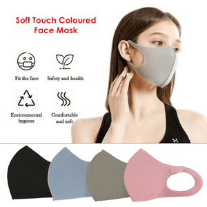 3 Pack: Soft Touch Colored Face Mask - Assorted Colors