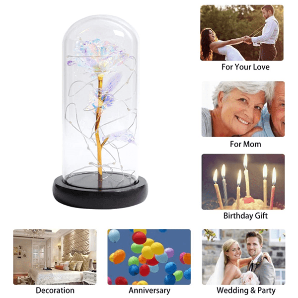 Buy 1 Get 1 Free - Beauty & The Beast Rose With LED Light In A Glass Dome