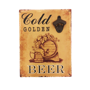 """Gold Golden Beer"" Pre-drilled Slogan Wood Finish Wall Mount With Bottle Opener"