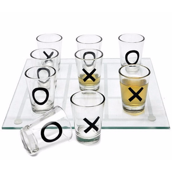 """Miniature 9 Shot Glass Tic Tac Toe Game"" Adult Drinking Game"