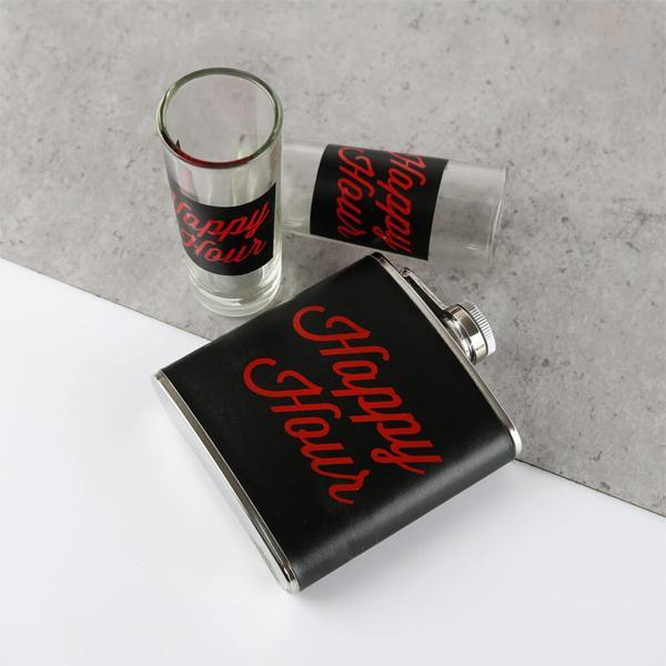 Happy Hour Flask & Shot Glass Set