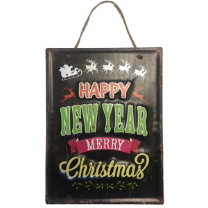 """Happy New Year Merry Christmas"" Holiday Themed Hanging Metal Sign Decor With Santa and Reindeer Graphics"