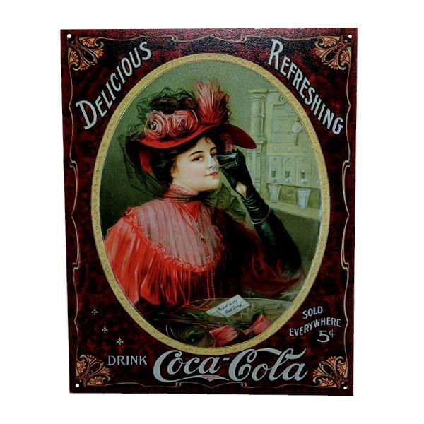"Home - Antique Coca-Cola Vintage Collectible Metal Wall Decor Sign - 16"" X 12.5"""