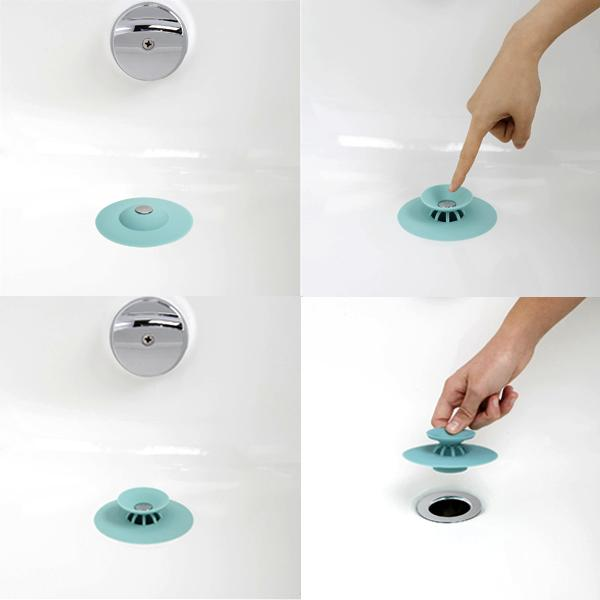 Home - Bath Wizard: 2-in-1 Drain Stopper & Hair Catcher - Assorted Colors