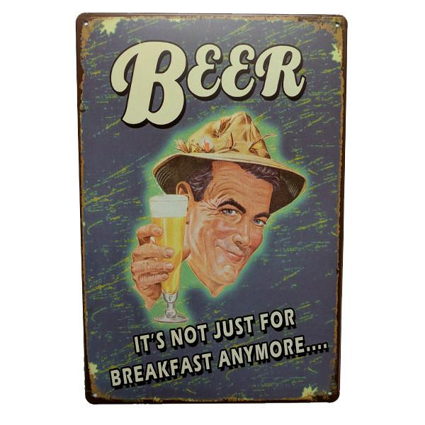 "Home - ""Beer, It's Not Just For Breakfast Anymore.."" Vintage Collectible Metal Wall Decor Sign"