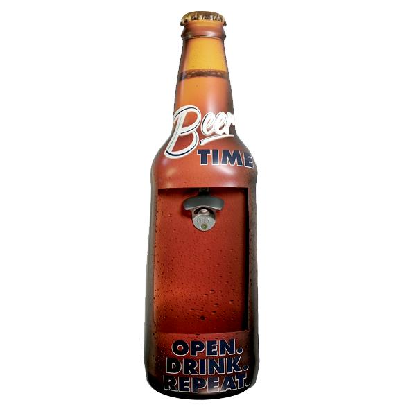 "Home - ""Beer Time"" Mountable Bottle Shaped Metal Cap Opener And Catcher"