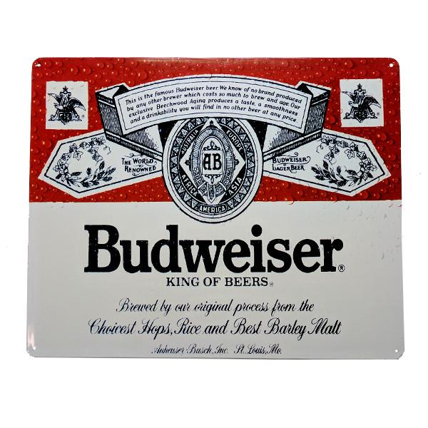 "Home - Budweiser ""King Of Beers"" Vintage Collectible Metal Wall Decor Sign - 15"" X 12"""