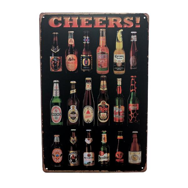 "Home - ""Cheers"" International Beers Vintage Collectible Metal Wall Decor Sign"