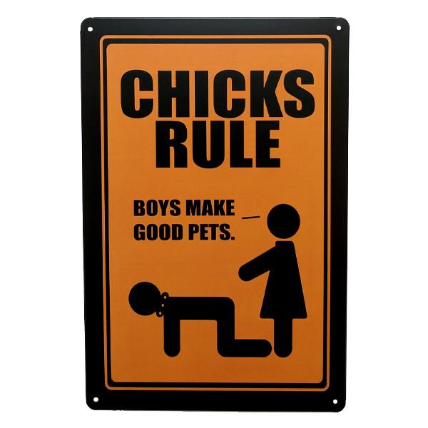 "Home - ""Chicks Rule"" Vintage Collectible Metal Wall Decor Sign"