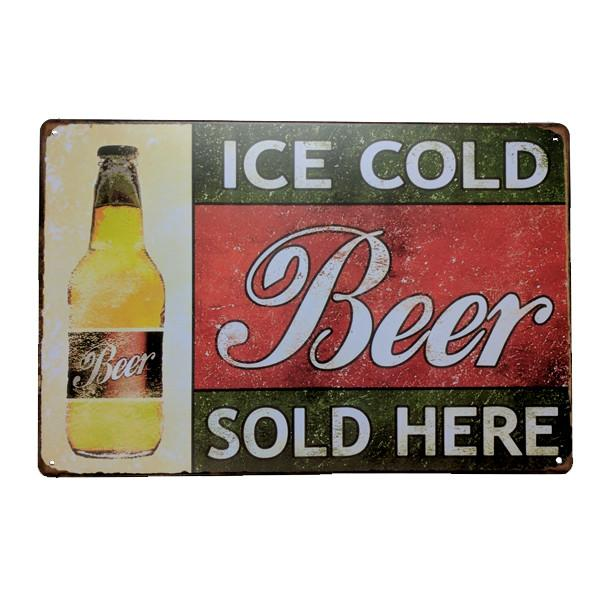 "Home - Classic ""Ice Cold Beer Sold Here"" Vintage Collectible Metal Wall Decor Sign"