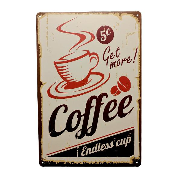 "Home - Coffee ""Five Cents Endless Cup"" Vintage Collectible Metal Wall Decor Sign"