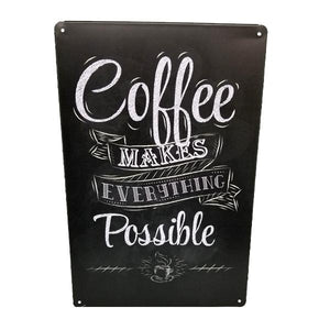 "Home - ""Coffee Makes Everything Possible"" Vintage Collectible Metal Wall Decor Sign"