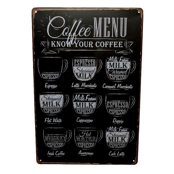 Home - Coffee Menu Vintage Collectible Metal Wall Decor Sign