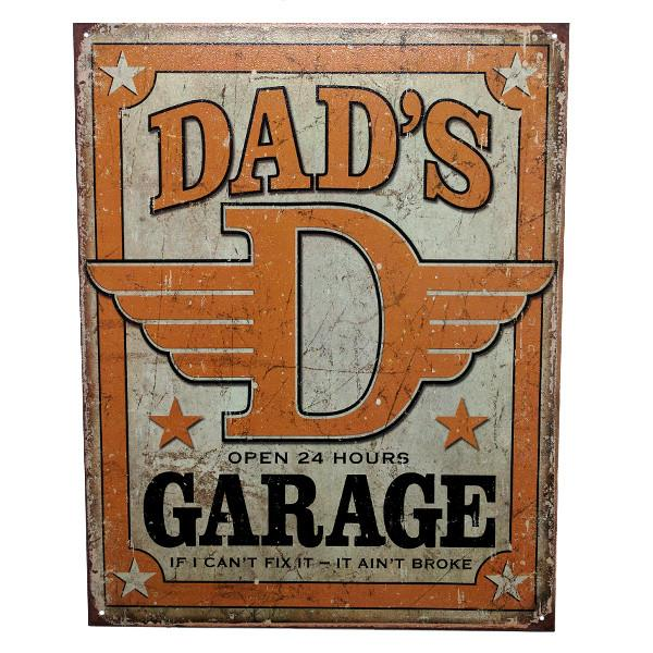 "Home - ""Dad's Garage"" Vintage Collectible Metal Wall Decor Sign - 16"" X 12.5"""