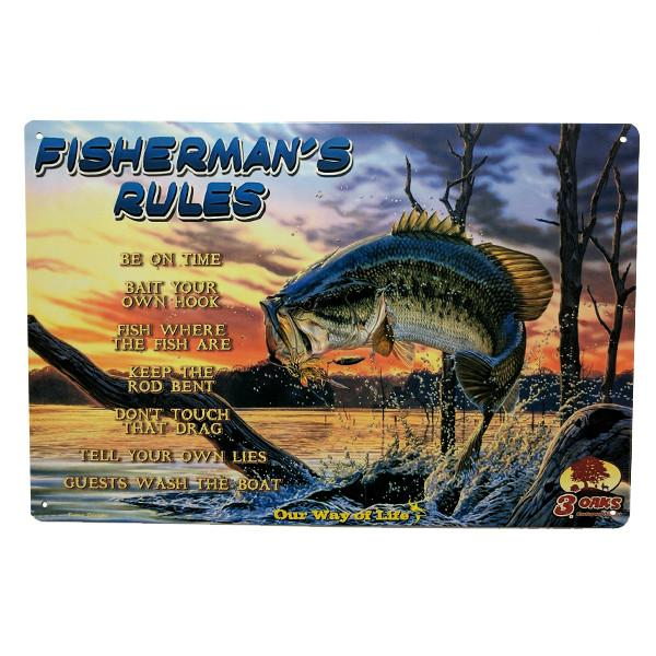 "Home - ""Fisherman's Rules"" Vintage Collectible Metal Wall Decor Sign"