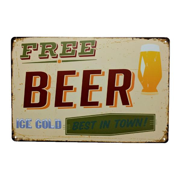 "Home - ""Free Beer.. Best In Town!"" Vintage Collectible Metal Wall Decor Sign"