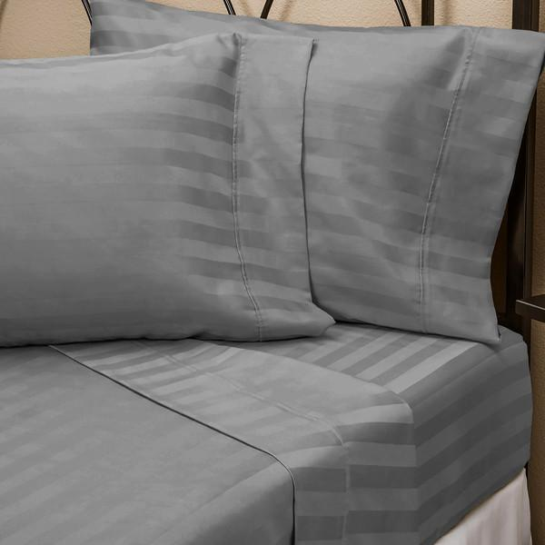 Home - Hotel New York Luxurious Embossed Stripe Design 4-Piece Bed Sheet Set