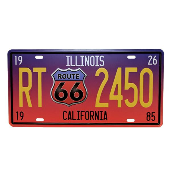 Home - Illinois / California Route 66 Vintage License Plate Wall Decor Sign