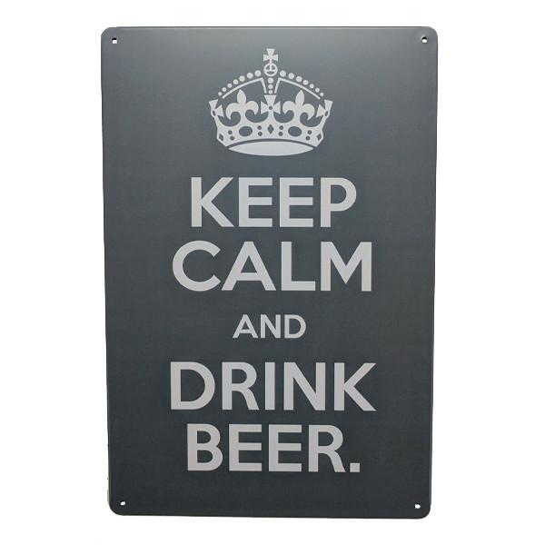 "Home - ""Keep Calm And Drink Beer"" Vintage Collectible Metal Wall Decor Sign"