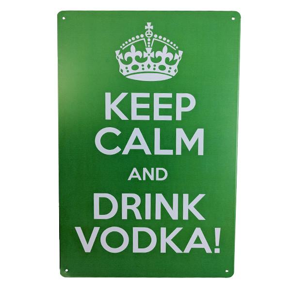 "Home - ""Keep Calm And Drink Vodka"" Vintage Collectible Metal Wall Decor Sign"