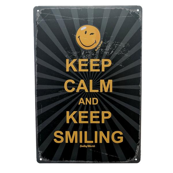 "Home - ""Keep Calm And Keep Smiling"" Vintage Collectible Metal Wall Decor Sign"