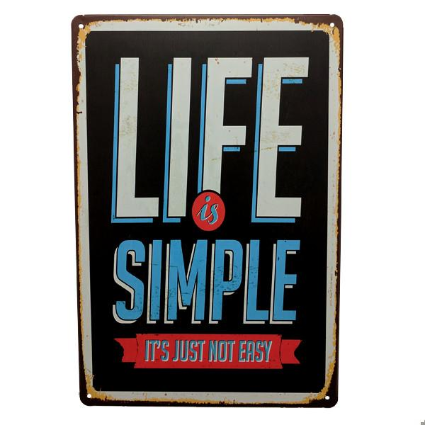 "Home - ""Life Is Simple, It's Just Not Easy"" Vintage Collectible Metal Wall Decor Sign"
