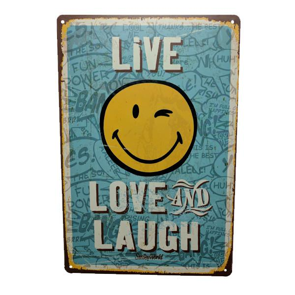 "Home - ""Live, Love And Laugh"" Vintage Collectible Metal Wall Decor Sign"