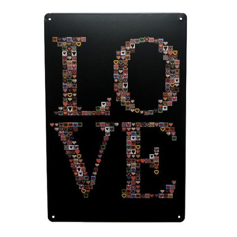 "Home - ""LOVE"" Vintage Collectible Metal Wall Decor Sign"