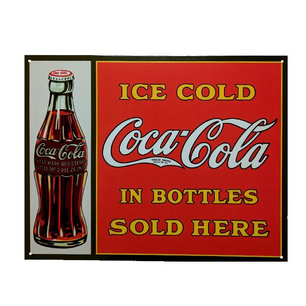 "Home - Retro Coca-Cola Ice Cold Bottle Vintage Collectible Metal Wall Decor Sign - 16"" X 12.5"""