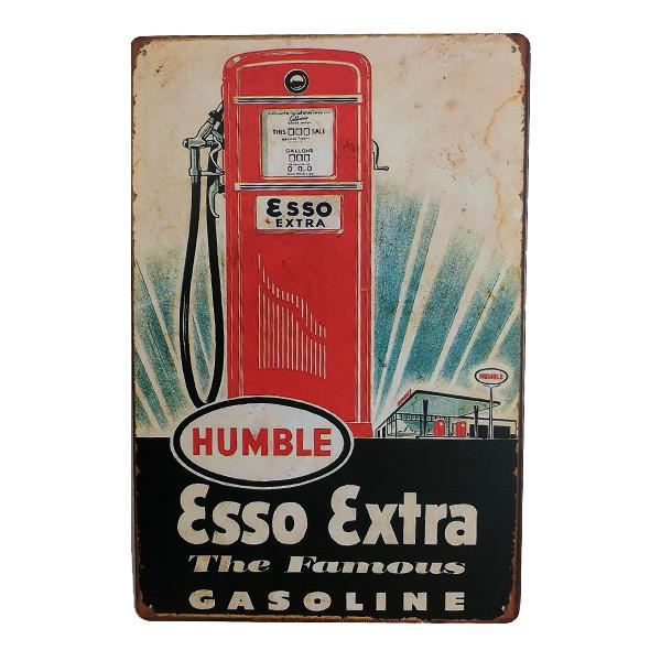 Home - Retro Esso Extra Gasoline Vintage Collectible Metal Wall Decor Sign