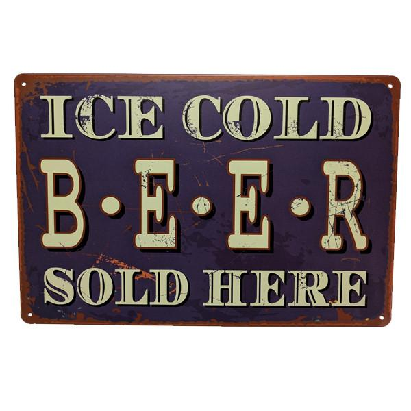 "Home - Retro ""Ice Cold Beer Sold Here"" Vintage Collectible Metal Wall Decor Sign"