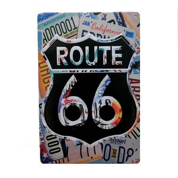 Home - Route 66 With Licence Plate Background Vintage Collectible Metal Wall Decor Sign