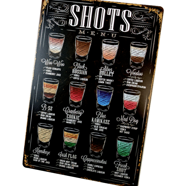 "Home - ""Shots Menu"" Vintage Collectible Metal Wall Decor Sign"