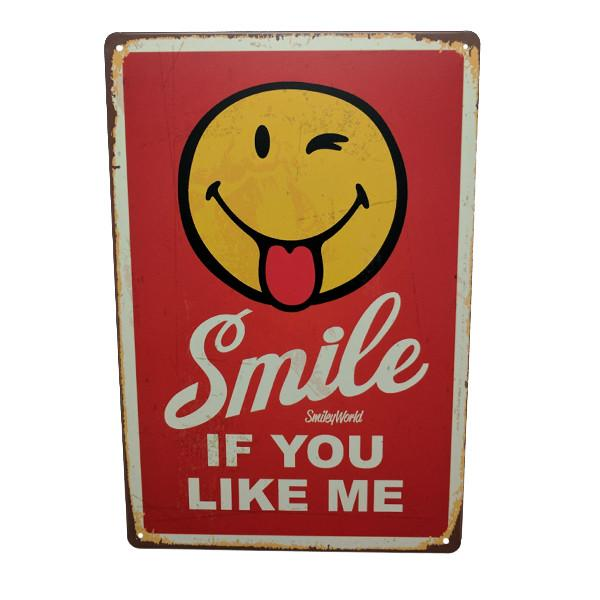 "Home - ""Smile If You Like Me"" Vintage Collectible Metal Wall Decor Sign"