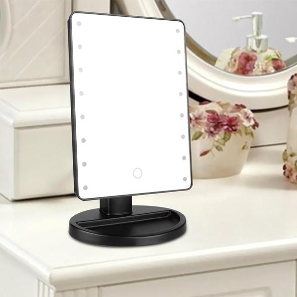Home - Ultra Clear 16-LED Rotating Vanity Mirror With Adjustable Viewing Angle And Tray - Assorted Colours