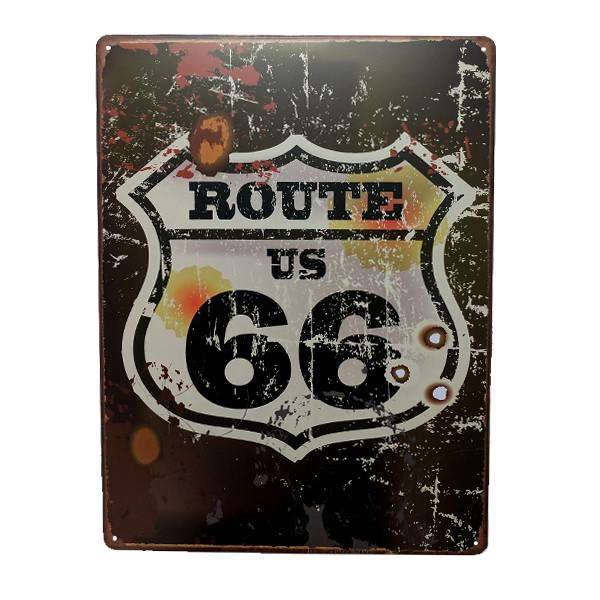 "Home - US Route 66 Vintage Collectible Metal Wall Decor Sign - 16"" X 12.5"""