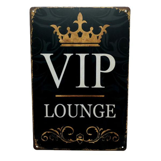 Home - VIP Lounge Vintage Collectible Metal Wall Decor Sign