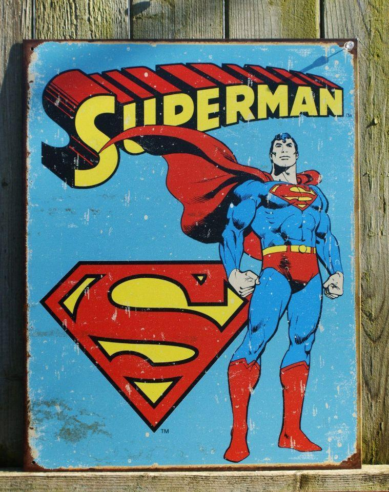 """Superman S Sign"" Vintage Collectible Metal Sign Wall Art Decor With 4 Pre-drilled Holes"