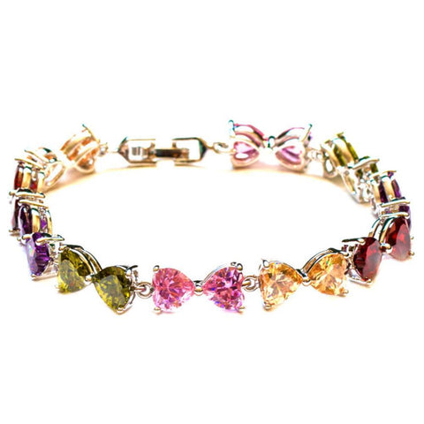 Jewellery - Heart-shaped Multicolor Zircon Rhinestone Charm Bracelet