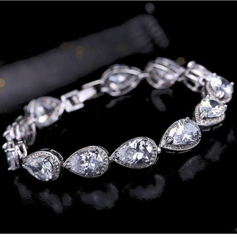 Jewellery - Waterdrop White Gold Plated Zirconia CZ Crystal Lady Bracelet