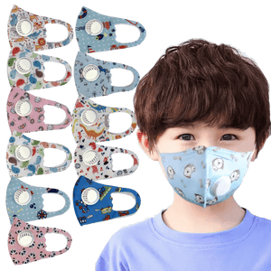 3 Pieces: Kids Dust Face Mask With Respirator Valve - Assorted Styles