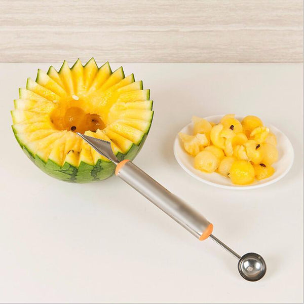 Kitchen - 2-In-1 Stainless Steel Melon Ball Scooper & Carving Knife
