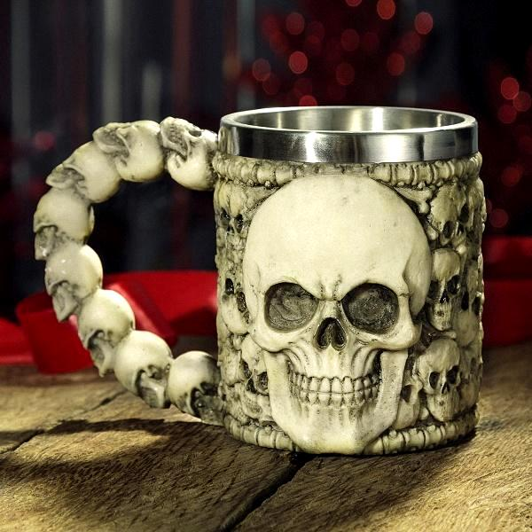"Kitchen - ""Bad To The Bone"" Skull Stainless Steel Drinking Mug"