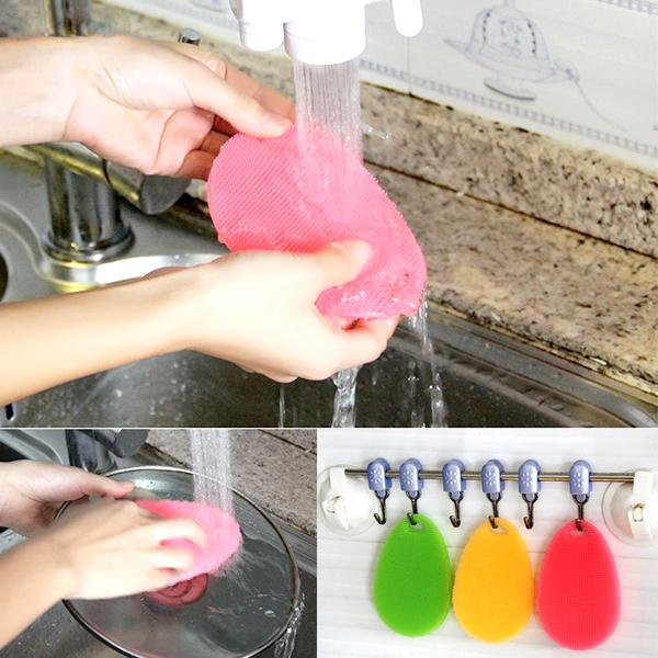 Kitchen - Multipurpose Food-Grade Antibacterial Silicone Oval Smart Scrub - 5 Colours Available!