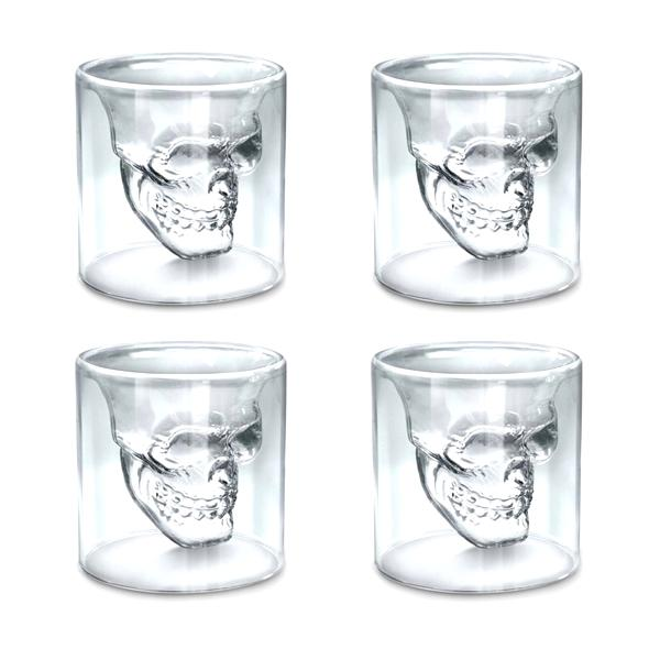 Kitchen - Set Of 4: Doomed Double-Walled Crystal Skull Shot Glasses